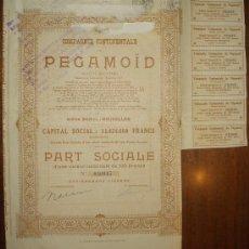 Coleccionismo Acciones Extranjeras: ACCION COMPAGNIE CONTINENTALE PEGAMOID - BRUSELAS . Lote 14026785