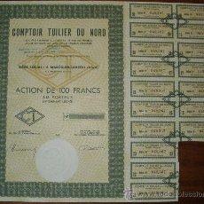Coleccionismo Acciones Extranjeras: ACCION COMPTOIR TUILIER DU NORD - 1963. Lote 14027021