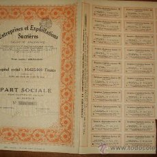 Coleccionismo Acciones Extranjeras: ACCION ENTREPRISES ET EXPLOITATIONS SUCRIERES - BRUSELAS. Lote 14027176