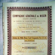 Coleccionismo Acciones Extranjeras: ACCIÓN - COMPAGNIE GÉNÉRALE DU NIGER. Lote 27124268