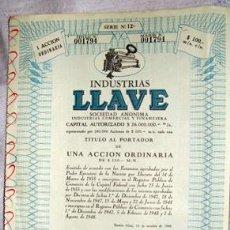 Coleccionismo Acciones Extranjeras: ACCIÓN - INDUSTRIAS LLAVE SOCIEDAD ANÓNIMA - BUENOS AIRES - ARGENTINA (AÑO 1948). Lote 26363190