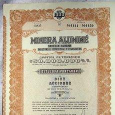 Coleccionismo Acciones Extranjeras: ACCIÓN - MINERA ALUMINÉ SOCIEDAD ANÓNIMA INDUSTRIAL Y FINANCIERA - BUENOS AIRES ARGENTINA (AÑO 1958). Lote 26363189