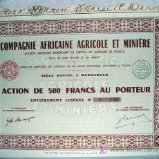 Coleccionismo Acciones Extranjeras: ACCIÓN - COMPAGNIE AFRICAINE AGRICOLE ET MINIÉRE (AÑO 1950). Lote 27069920
