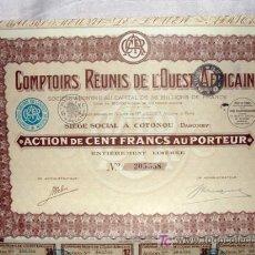 Coleccionismo Acciones Extranjeras: ACCIÓN - COMPTOIRS RÉUNIS DE L'OUEST AFRICAIN - COTONOU, DAHOMEY (AÑO 1936). Lote 26484885