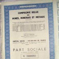 Coleccionismo Acciones Extranjeras: ACCIÓN - COMPAGNIE BELGE DES MINES, MINERAIS ET METAUX (AÑO 1969). Lote 26436048