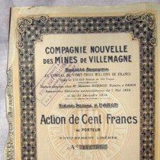 Coleccionismo Acciones Extranjeras: ACCIÓN - COMPAGNIE NOUVELLE DES MINES DE VILLEMAGNE SOCIÉTÉ ANONYME (AÑO 1926). Lote 27009361
