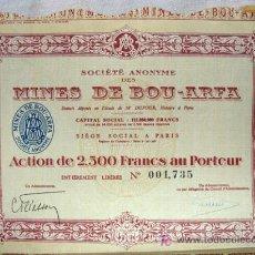 Coleccionismo Acciones Extranjeras: ACCIÓN - MINES DE BOU-ARFA - MARRUECOS. Lote 26393921