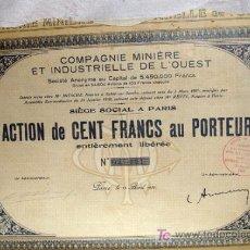 Coleccionismo Acciones Extranjeras: ACCIÓN - COMPAGNIE MINÈRE ET INDUSTRIELLE DE L'OUEST - (MINAS E INDUSTRIA) - AÑO 1930. Lote 27196749