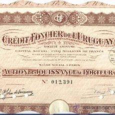 Coleccionismo Acciones Extranjeras: CRÉDIT FONCIER DE L'URUGUAY. Lote 22793149