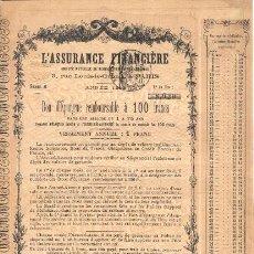 Coleccionismo Acciones Extranjeras: L'ASSURANCE FINANCIÈRE. Lote 23832765