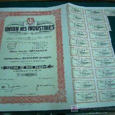 Coleccionismo Acciones Extranjeras: ACCIONES ACCION UNION DES INDUSTRIES SA BRUXELLES 1944. Lote 27187404
