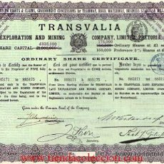 Coleccionismo Acciones Extranjeras: TRANSVALIA LAND EXPORATION AND MINING CO. PRETORIA. Lote 18853086