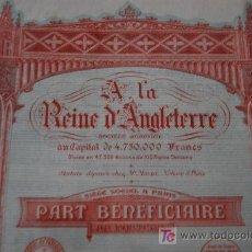 Coleccionismo Acciones Extranjeras: ACCION FRANCE - ENGLAND - A LA REINE D´ANGLETERRE. PART BENEFICIAIRE. PARIS 1924. SUPER DECO. Lote 19905950