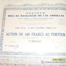 Coleccionismo Acciones Extranjeras: ACCION MINAS MANGANESO - MINE DE MANGANESE DE LAS AMBOLLAS - PIRINEOS ORIENTALES -. Lote 19931304