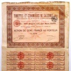 Coleccionismo Acciones Extranjeras: SOCIÉTÉ GENÉRALE DES TOMETTES ET CÉRAMIQUES. Lote 22715027