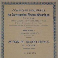 Coleccionismo Acciones Extranjeras: FRANCIA: COMPAGNIE INDUSTRIELLE DE CONSTRUCTION ELECTRO-MÉCANIQUE, PARÍS (1957). Lote 22463455