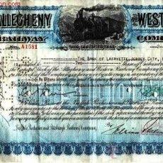 Coleccionismo Acciones Extranjeras: ALLEGHENY AND WESTERN RAILWAY COMPANY. Lote 22548430