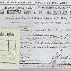 Coleccionismo Acciones Extranjeras: LA RESERVA MUTUA DE LOS ESTADOS UNIDOS DE AMÉRICA.POLIZA DE DISTRIBUCIÓN DESPUES DE DIEZ AÑOS.. Lote 22584560