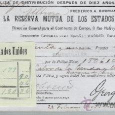 Coleccionismo Acciones Extranjeras: LA RESERVA MUTUA DE LOS ESTADOS UNIDOS DE AMÉRICA.POLIZA DE DISTRIBUCIÓN DESPUES DE DIEZ AÑOS.. Lote 22584656