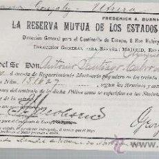 Coleccionismo Acciones Extranjeras: LA RESERVA MUTUA DE LOS ESTADOS UNIDOS DE AMÉRICA.2 DE NOVIEMBRE DE 1903.. Lote 22584743