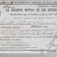 Coleccionismo Acciones Extranjeras: LA RESERVA MUTUA DE LOS ESTADOS UNIDOS DE AMÉRICA.POLIZA DE DISTRIBUCIÓN DESPUES DE DIEZ AÑOS.. Lote 22584770