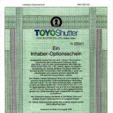 Coleccionismo Acciones Extranjeras: TOYO SHUTTER CO., LTD.. Lote 22866133