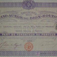 Collectionnisme Actions Internationales: AUTOMÓVILES: SOCIÉTÉ DES TAXI-AUTOS DE DION-BOUTON, PARÍS - FRANCIA (1908). Lote 25434605