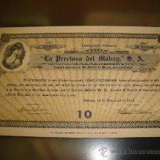 Coleccionismo Acciones Extranjeras: ACCION DE LA COMPAÑIA MINERA DEL LA PRECIOSA DEL MABAY S.A AÑO 1916. Lote 25100358