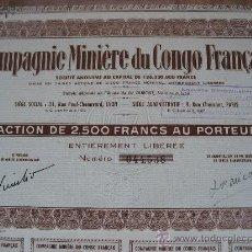 Coleccionismo Acciones Extranjeras: COMPAGNIE MINIÈRE DU CONGO FRANÇAIS. 27 X 16 CMS. SIN CUPONES. MINAS. Lote 25497117