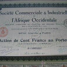 Coleccionismo Acciones Extranjeras: PARIS. SOCIÉTÉ COMMERCIALE & INDUSTRIELLE L'AFRIQUE OCCIDENTALE. 1918. Lote 25806074