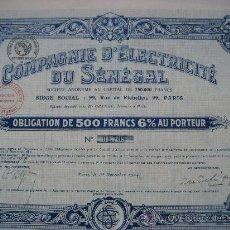 Coleccionismo Acciones Extranjeras: PARIS. COMPAGNIE D'ELECTRICITÉ DU SÉNÉGAL. 1943. . Lote 25806283