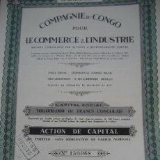 Coleccionismo Acciones Extranjeras: CONGO BELGA. COMPAGNIE DU CONGO LE COMERCE & L'INDUSTRIE. 1944. 9 CUPONES.. Lote 26814753