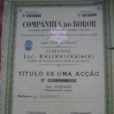 Collezionismo Azioni Internazionali: MOZAMBIQUE. MACUSE. COMPANHIA DO BOROR. PORTUGAL. 34 X 24 CMS. . Lote 31455293