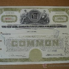 Coleccionismo Acciones Extranjeras: ACCIÓN -THE NEW YORK, CHICAGO AND ST LOUIS RAILROAD-. 10-X-1951. DIMENSIONES.- 30,5X20,5 CMS.. Lote 26780342