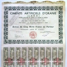 Coleccionismo Acciones Extranjeras: CIMENTS ARTIFICIELS D'ORANIE (C. A. D. O.). Lote 18894014