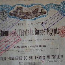Coleccionismo Acciones Extranjeras: ACCION CHEMINS DE FER DE LA BASSE EGYPTE - FERROCARRILES DEL BAJO EGIPTO - 1896 - DECO. Lote 28887527