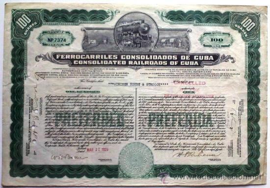 FERROCARRILES CONSOLIDADOS DE CUBA (Coleccionismo - Acciones Internacionales)