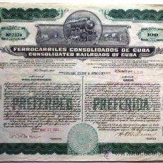 Coleccionismo Acciones Extranjeras: FERROCARRILES CONSOLIDADOS DE CUBA. Lote 21812034