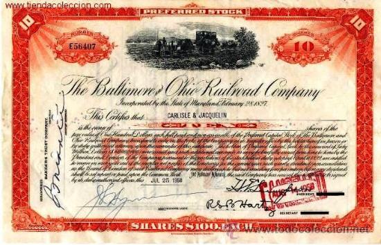 THE BALTIMORE AND OHIO RAILROAD COMPANY (Coleccionismo - Acciones Internacionales)