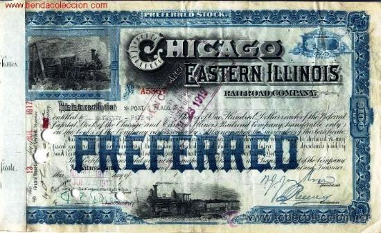 CHICAGO AND EASTERN ILLINOIS RAILROAD COMPANY. (Coleccionismo - Acciones Internacionales)