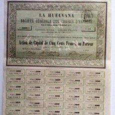 Coleccionismo Acciones Extranjeras: LA HUELVANA SOCIÉTÉ GÉNERALE DES CUIVRES D'ESPAGNE. Lote 30019103