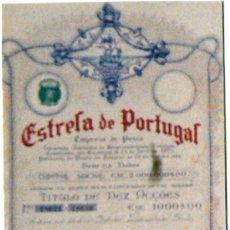 Coleccionismo Acciones Extranjeras: PORTUGAL 1923.- ESTRELA DE PORTUGAL. 10 ACIONES. EMPRESA DE PESCA. DECORATIVA.. Lote 30181937