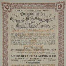 Collectionnisme Actions Internationales: FERROCARRILES: COMPAGNIE DES CHEMINS DE FER DU CONGO SUPERIEUR AUX GRANDS LACS AFRICAINS (1949). Lote 24013708