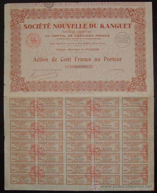 Coleccionismo Acciones Extranjeras: Minas: Société Nouvelle du Kanguet, Túnez (1932) - Foto 2 - 30492174