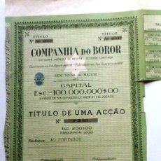 Coleccionismo Acciones Extranjeras: COMPANHIA DO BOROR. ÁFRICA. Lote 30819534