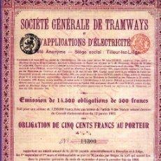 Coleccionismo Acciones Extranjeras: SOCIÉTÉ GÉNÉRALE DE TRAMWAYS ET D'APPILATIONS D'ÉLECTRICITÉ. Lote 31617116