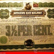Coleccionismo Acciones Extranjeras: MOHAWK AND MALONE RAILWAY COMPANY. Lote 31617612