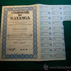 Coleccionismo Acciones Extranjeras: ACCION COMPAGNIE DU KATANGA AÑO 1944. Lote 31695747
