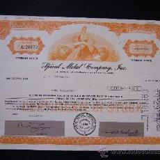 Coleccionismo Acciones Extranjeras: ACCIÓN DE SPIRAL METAL COMPANY INC. 1974. Lote 32380720