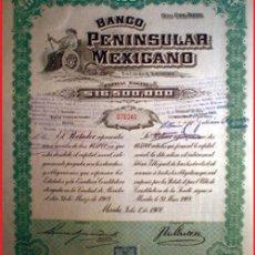 Coleccionismo Acciones Extranjeras: 1908.-ACCION - BANCO PENINSULAR MEXICANO -. 100 PESOS.FDA. EN MERIDA. VERDE Y NEGRA. GRABADA. Lote 32752458